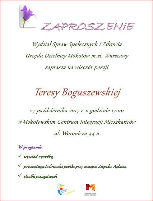 Wieczór Poezji Teresy Boguszewskiej